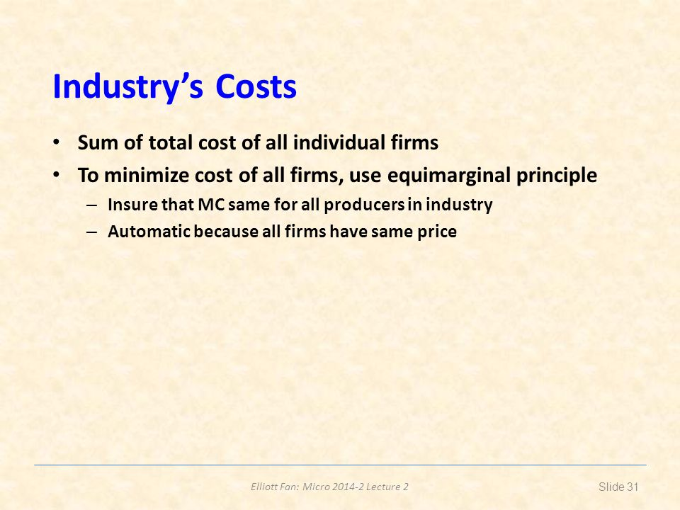 Industry's Costs Sum of total cost of all individual firms