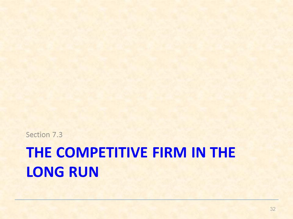 The competitive firm in the long run