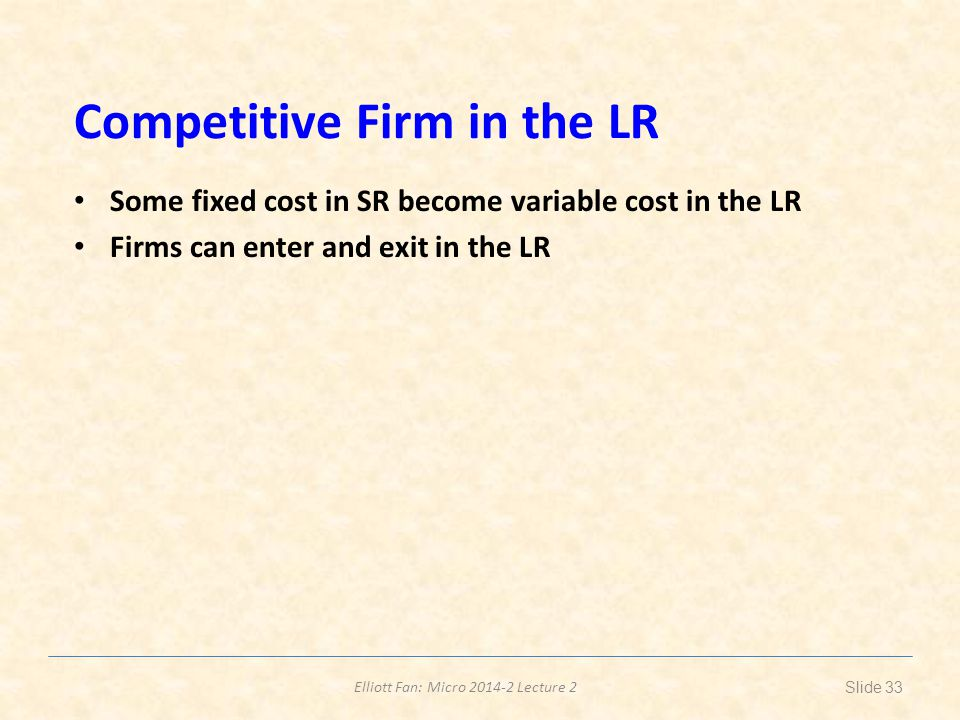 Competitive Firm in the LR