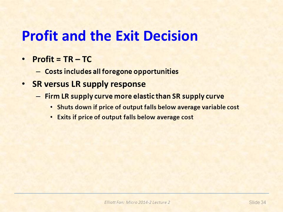 Profit and the Exit Decision