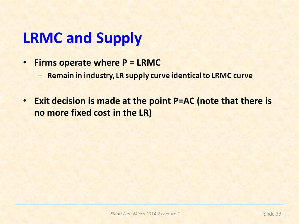LRMC and Supply Firms operate where P = LRMC