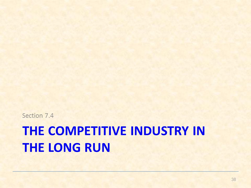 The competitive industry in the long run