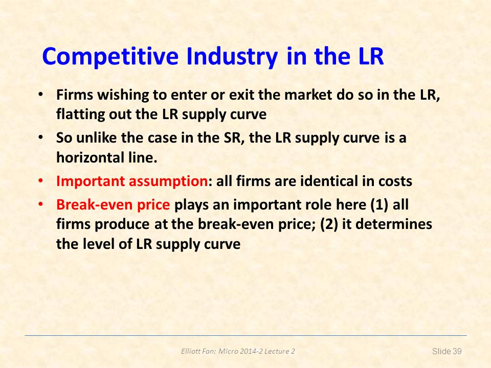 Competitive Industry in the LR