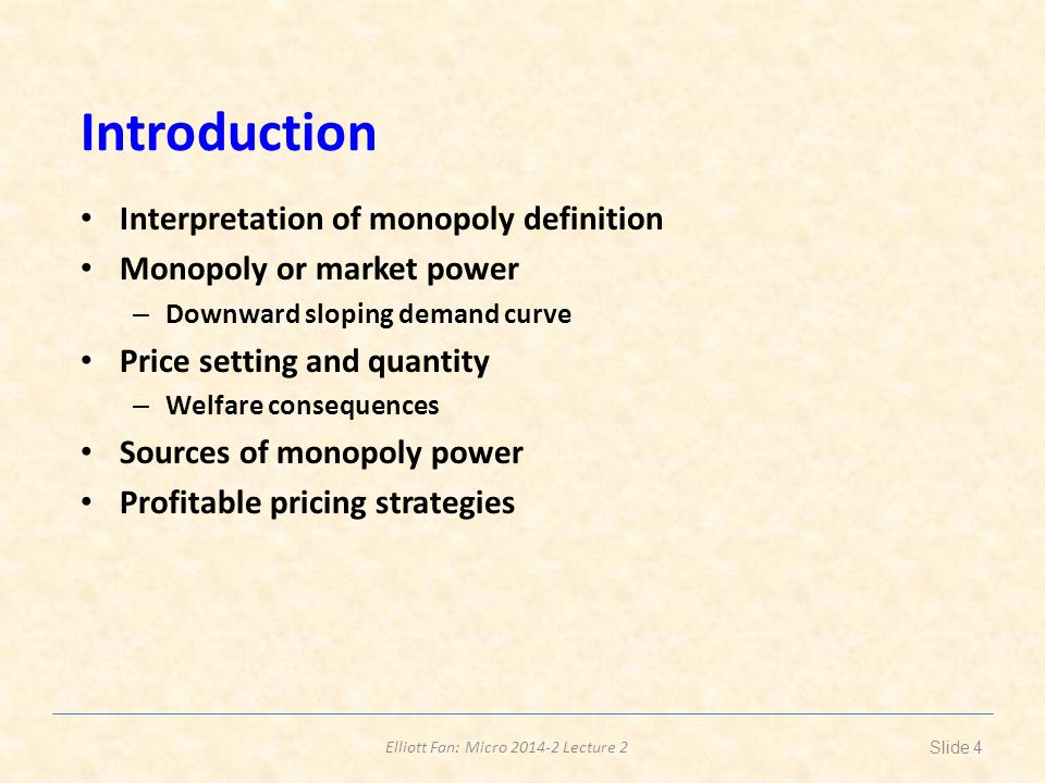 Introduction Interpretation of monopoly definition