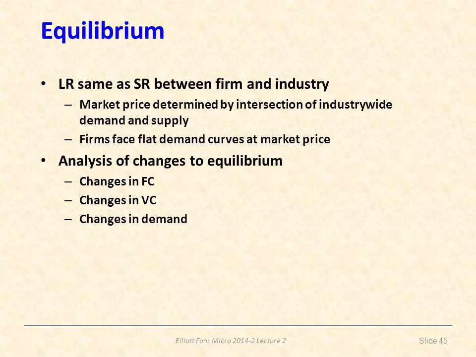 Equilibrium LR same as SR between firm and industry