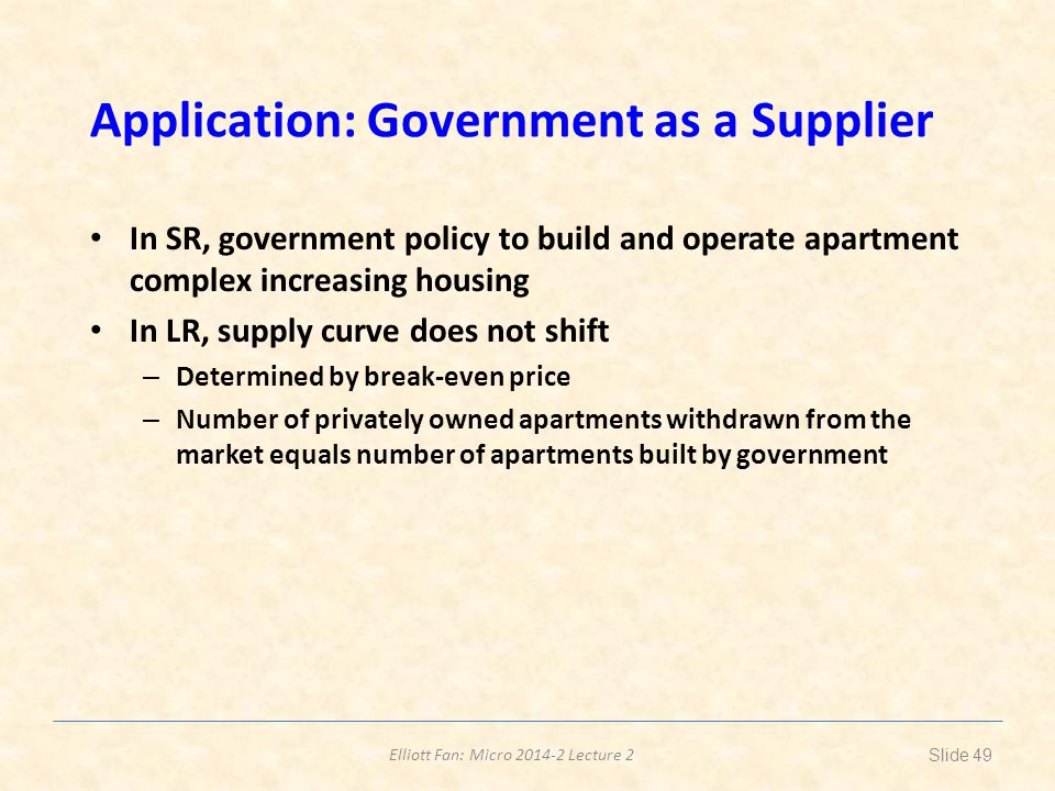 Application: Government as a Supplier