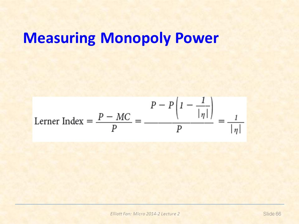 Measuring Monopoly Power