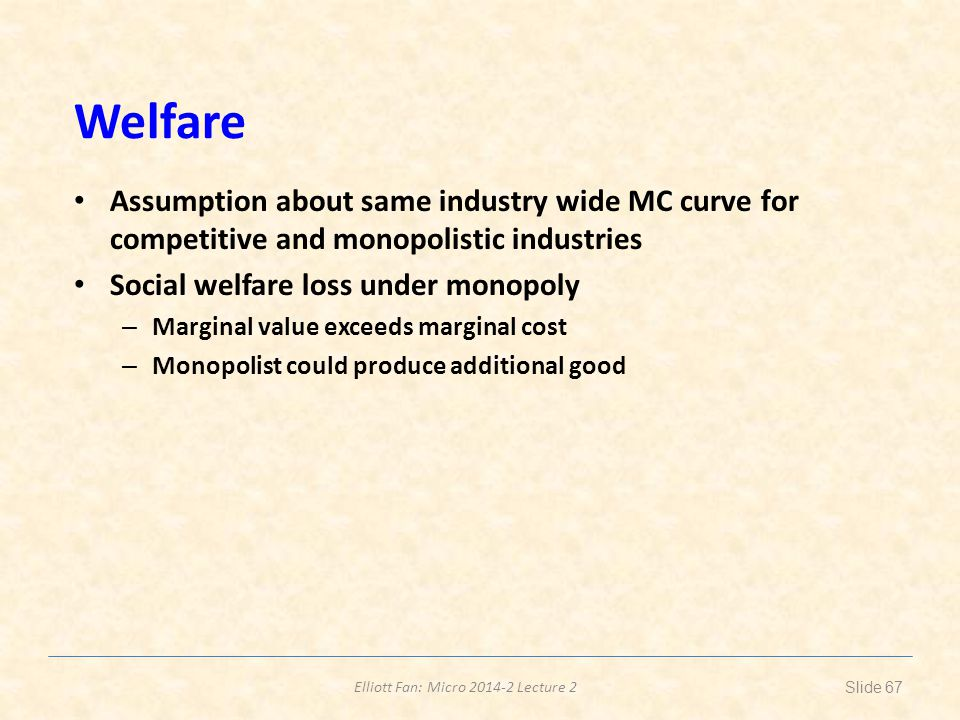 Welfare Assumption about same industry wide MC curve for competitive and monopolistic industries. Social welfare loss under monopoly.