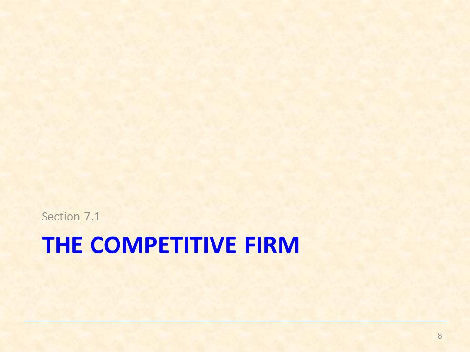 Section 7.1 The competitive firm