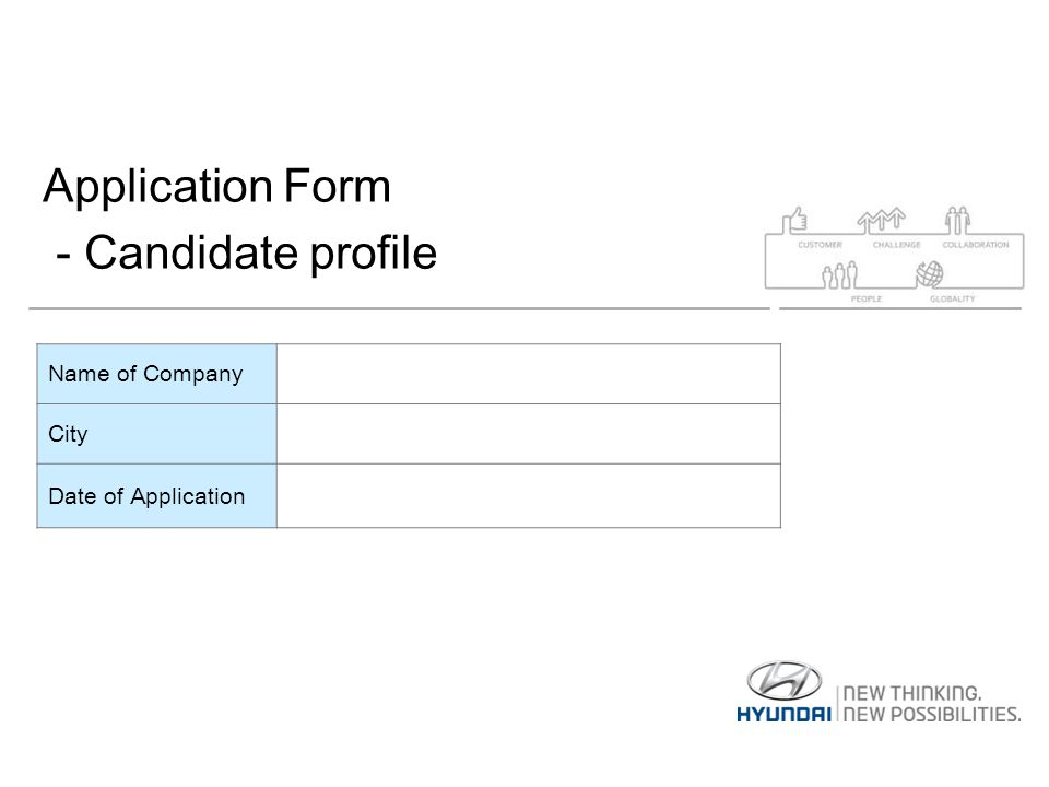 Application Form - Candidate profile Name of Company City