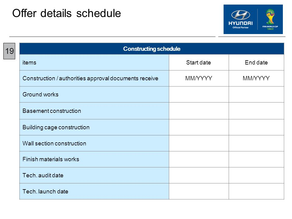 Constructing schedule
