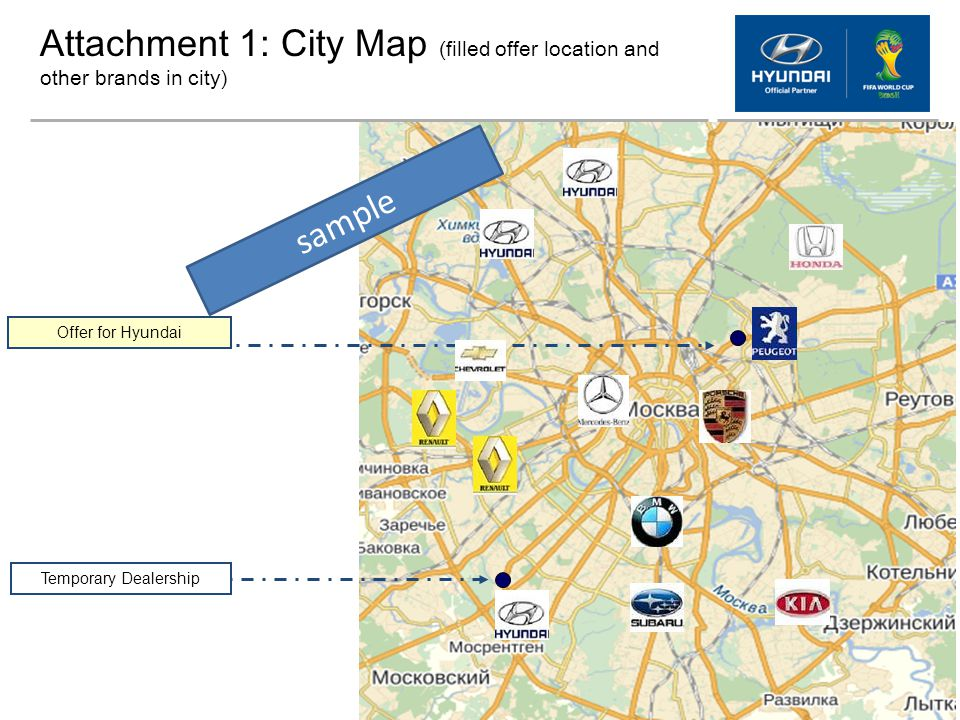 Attachment 1: City Map (filled offer location and other brands in city)