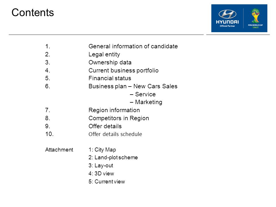 Contents 1. General information of candidate 2. Legal entity 3.