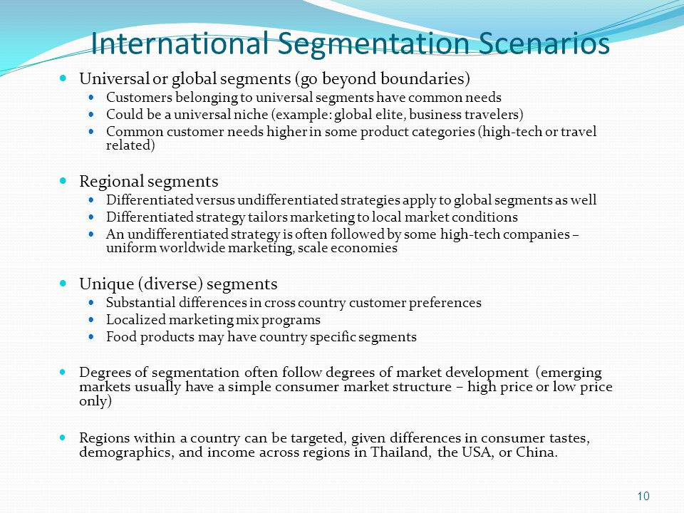 International Segmentation Scenarios