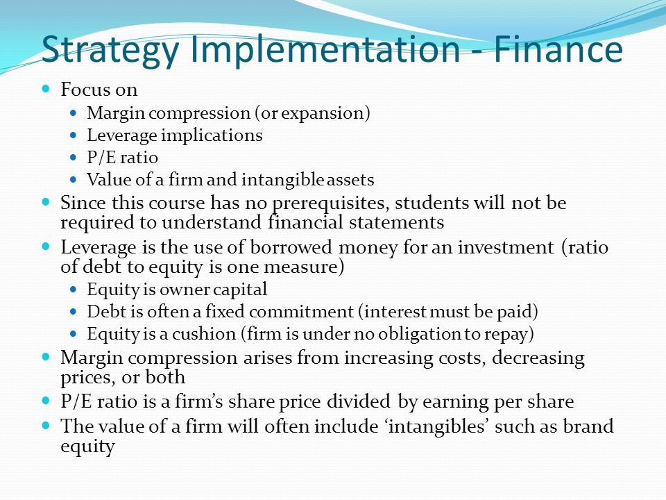 Strategy Implementation - Finance