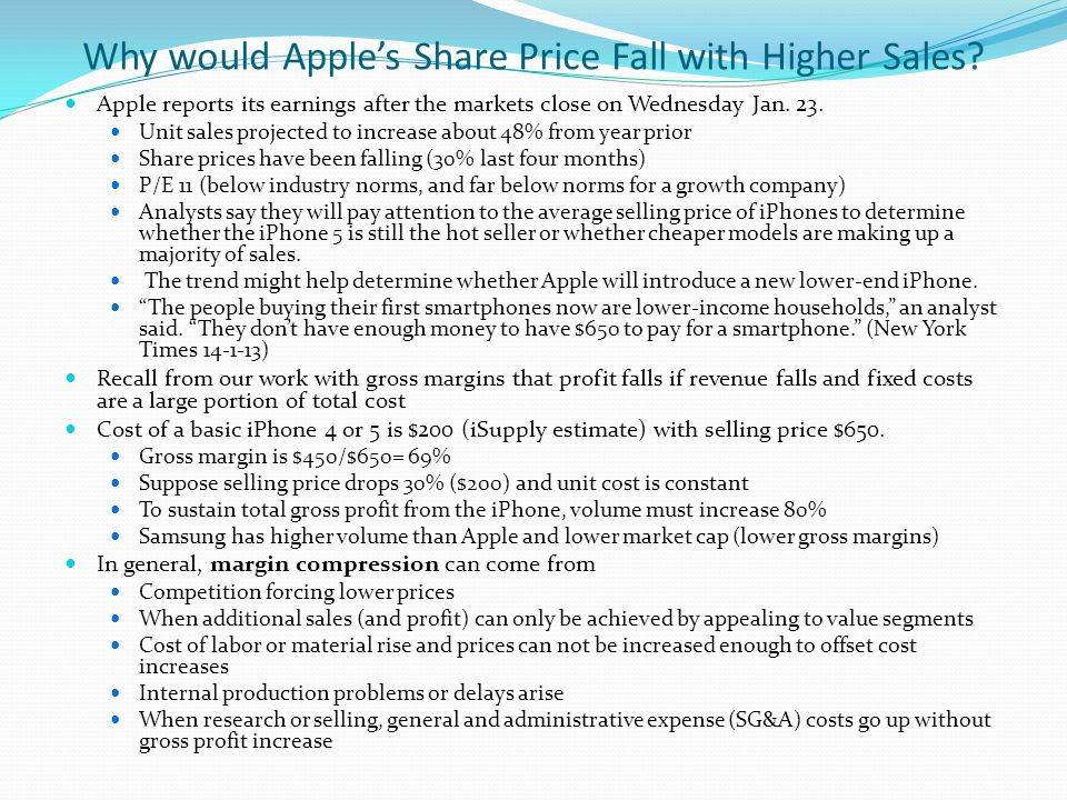 Why would Apple's Share Price Fall with Higher Sales