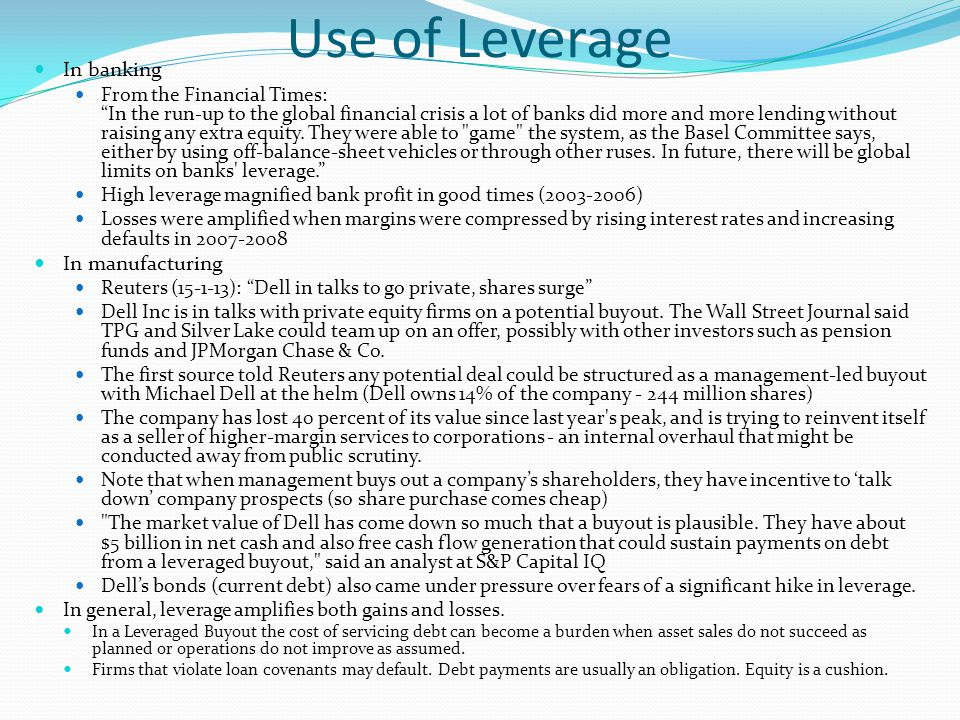Use of Leverage In banking In manufacturing