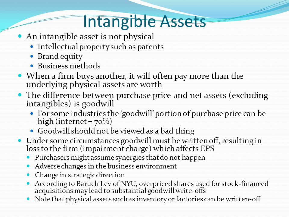 Intangible Assets An intangible asset is not physical
