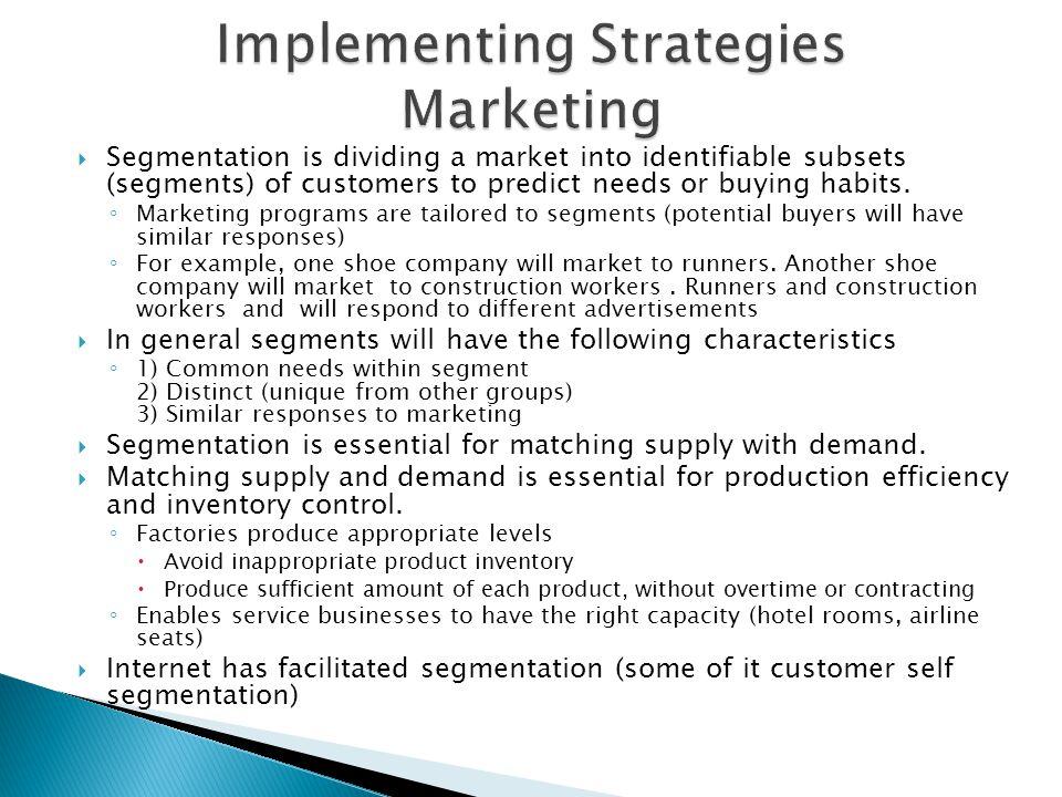 Implementing Strategies Marketing