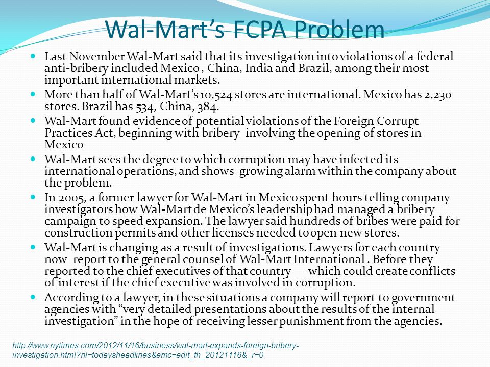 Wal-Mart's FCPA Problem