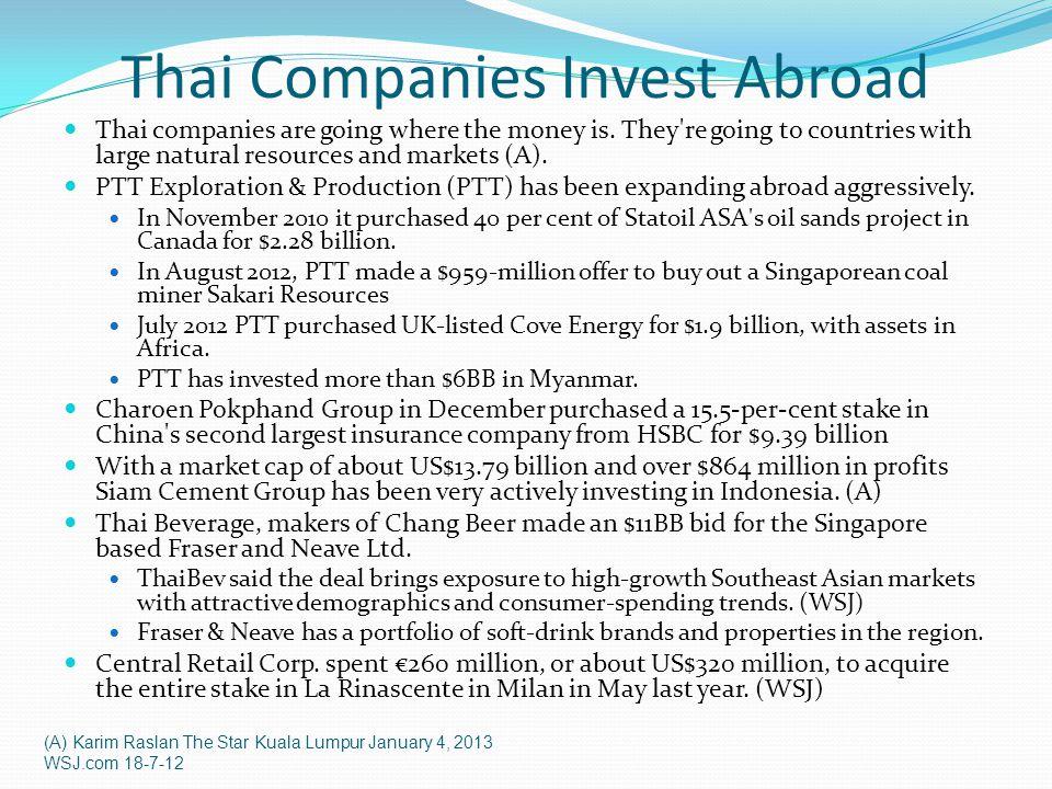 Thai Companies Invest Abroad