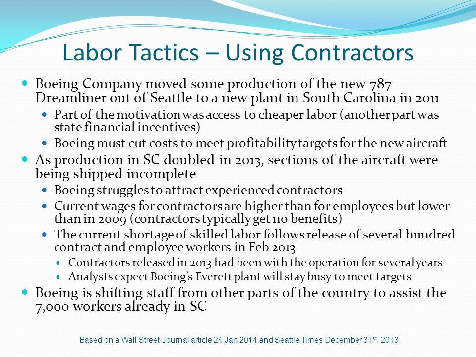 Labor Tactics – Using Contractors