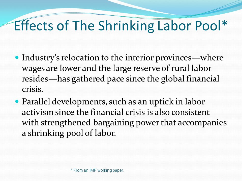 Effects of The Shrinking Labor Pool*