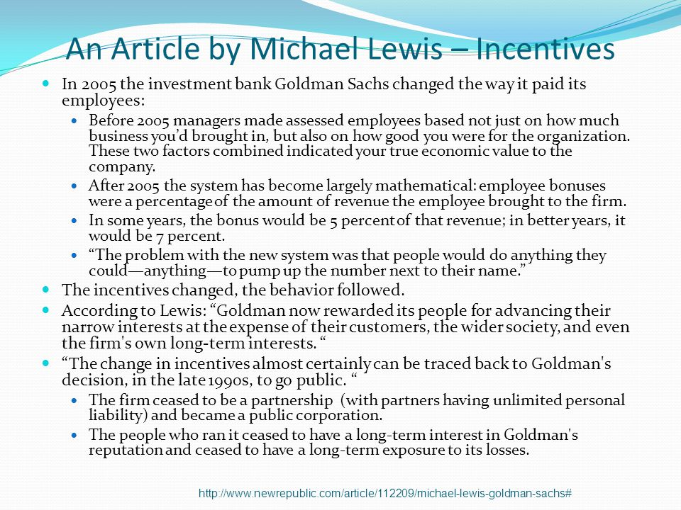 An Article by Michael Lewis – Incentives