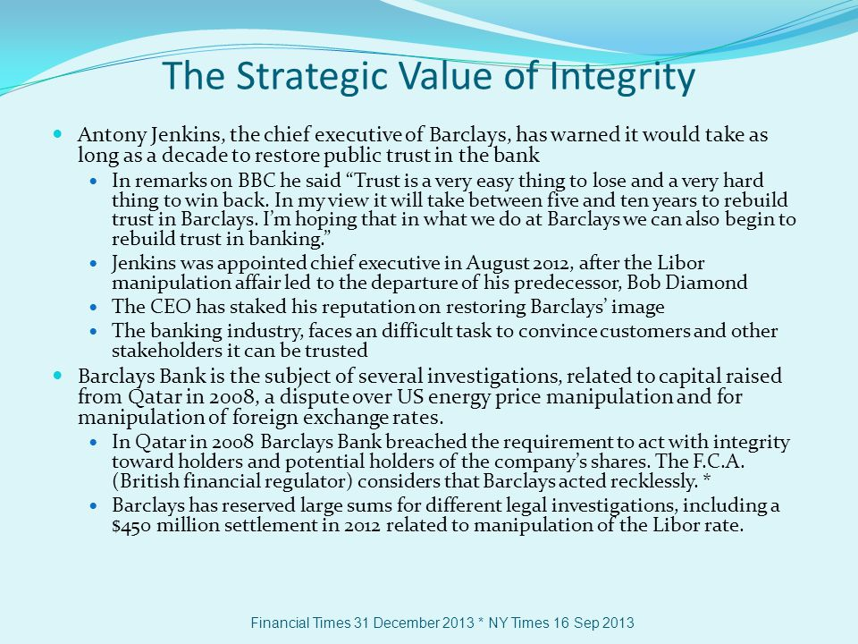 The Strategic Value of Integrity