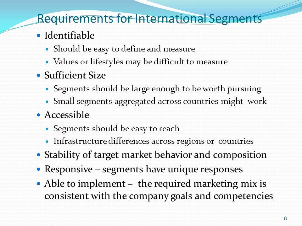 Requirements for International Segments