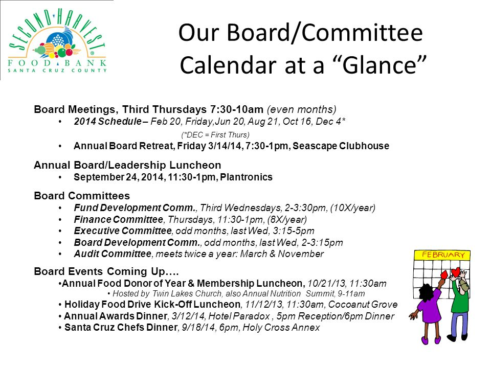 Our Board/Committee Calendar at a Glance
