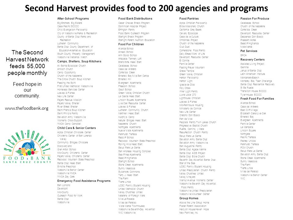 Second Harvest provides food to 200 agencies and programs