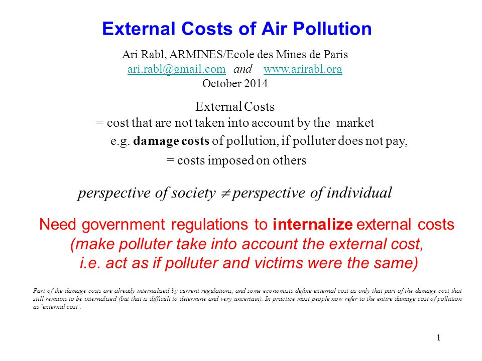 External Costs of Air Pollution