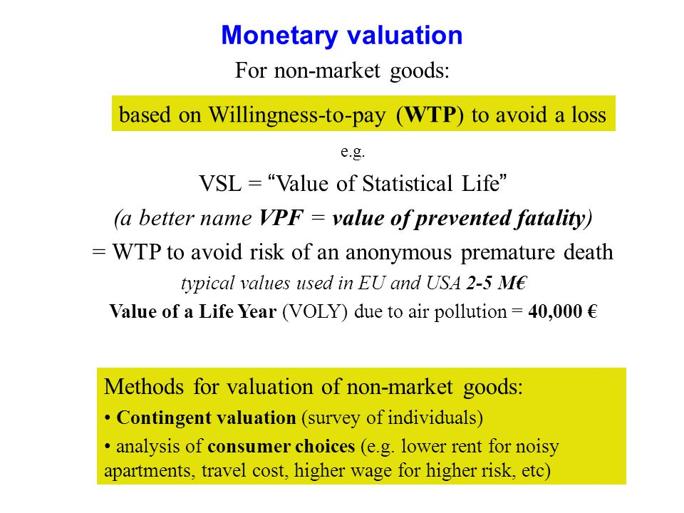 Monetary valuation For non-market goods: