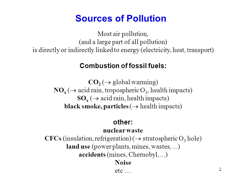 Combustion of fossil fuels:
