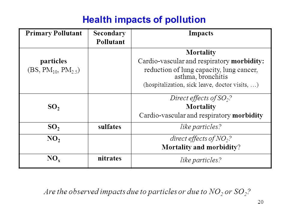 Health impacts of pollution