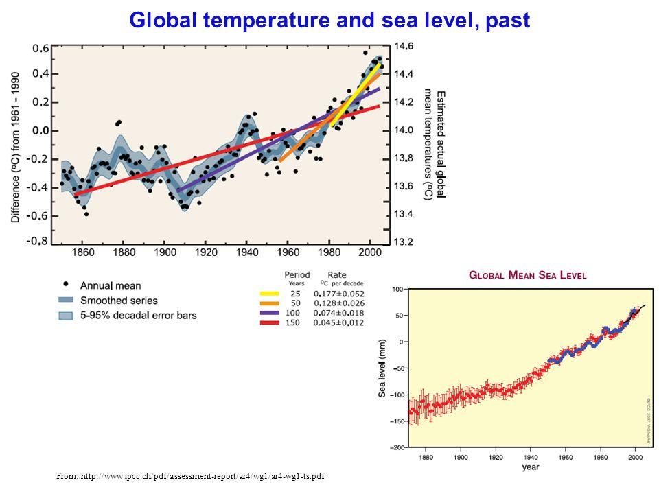 Global temperature and sea level, past