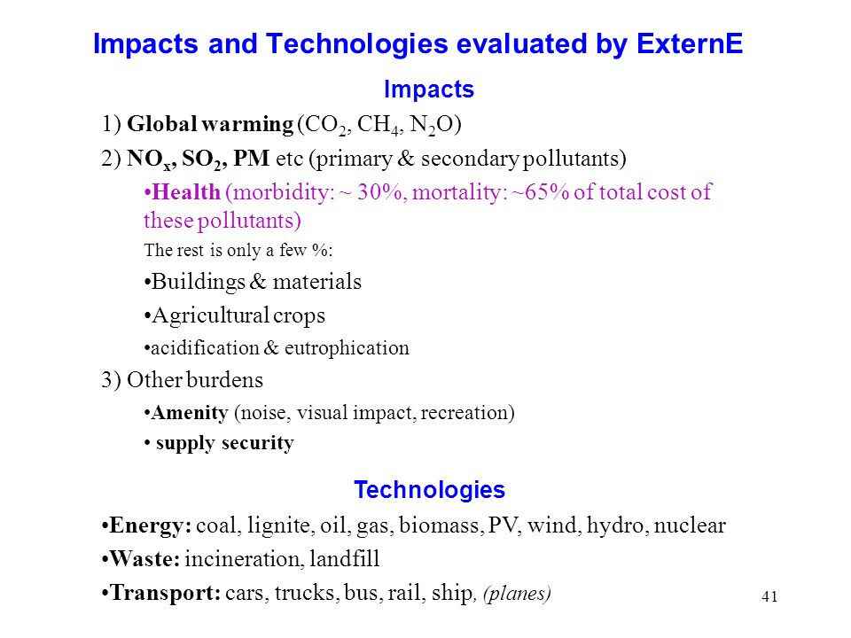 Impacts and Technologies evaluated by ExternE