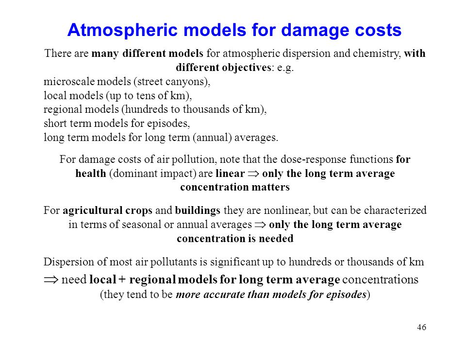 Atmospheric models for damage costs