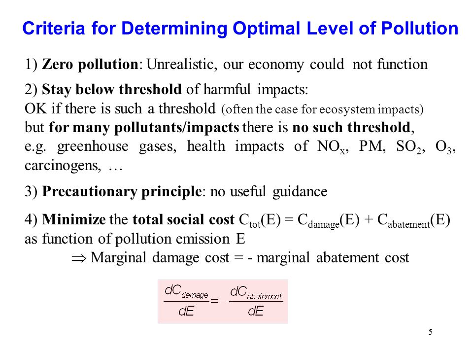 Criteria for Determining Optimal Level of Pollution