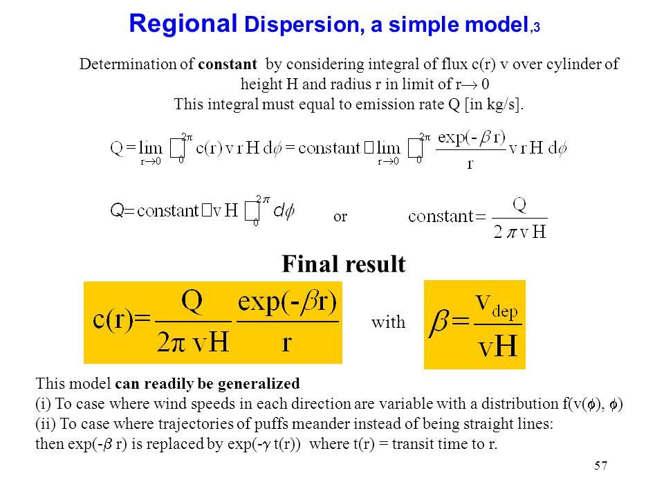 Regional Dispersion, a simple model,3