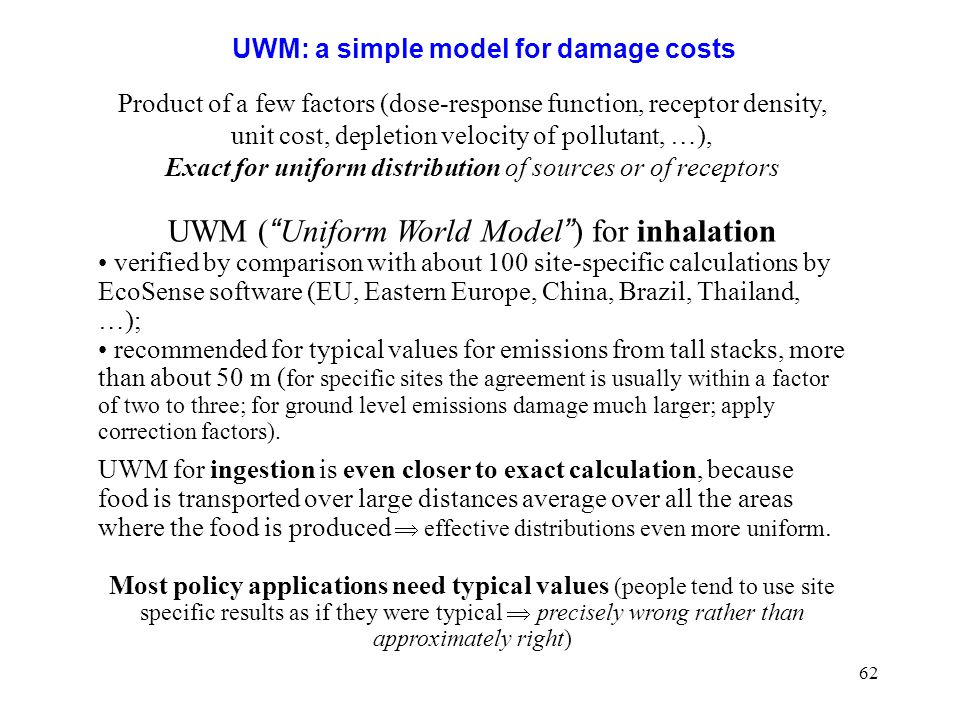 UWM: a simple model for damage costs
