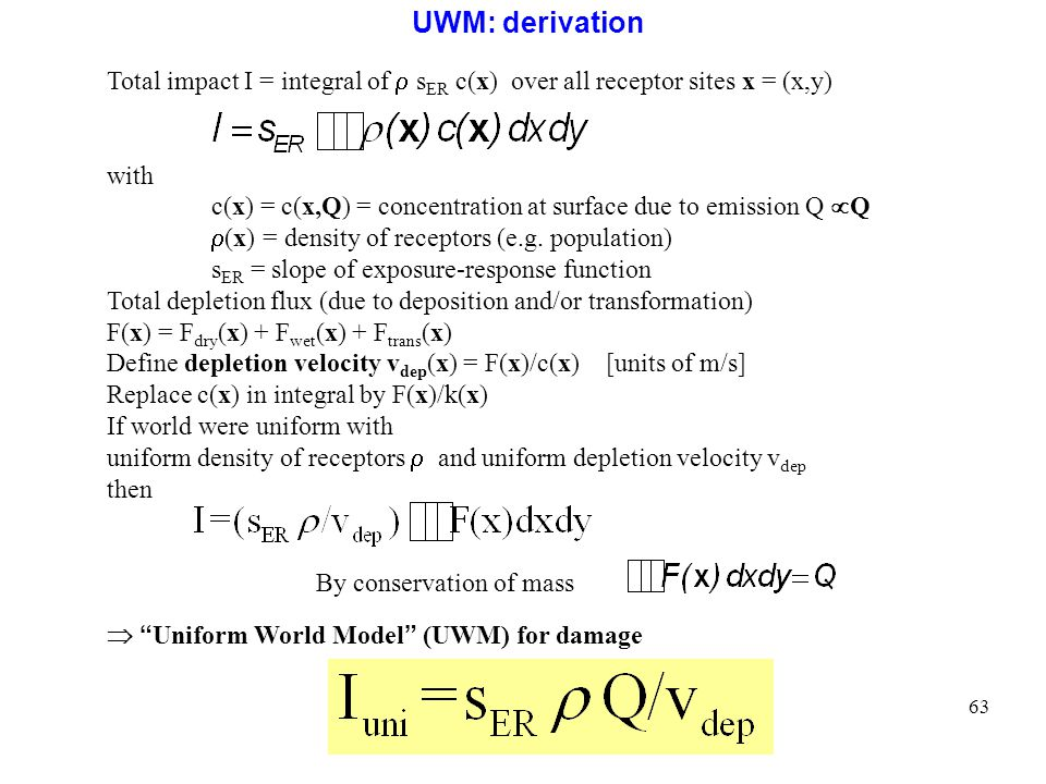 UWM: derivation Total impact I = integral of  sER c(x) over all receptor sites x = (x,y) with.
