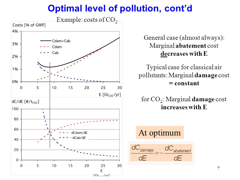 Optimal level of pollution, cont'd