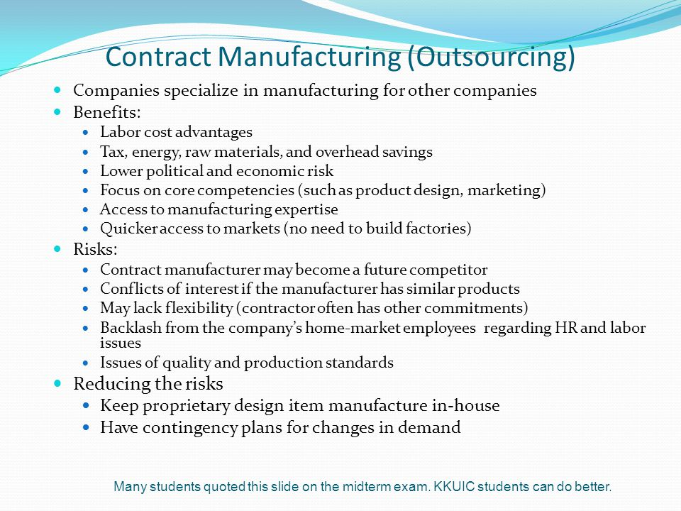 Contract Manufacturing (Outsourcing)