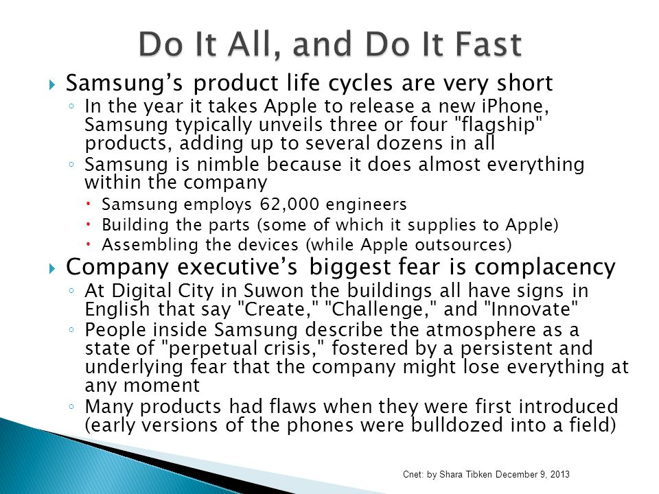 Do It All, and Do It Fast Samsung's product life cycles are very short