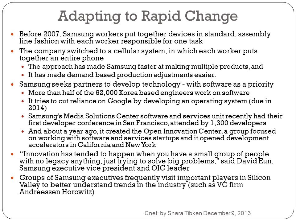 Adapting to Rapid Change
