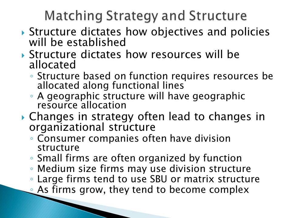 Matching Strategy and Structure