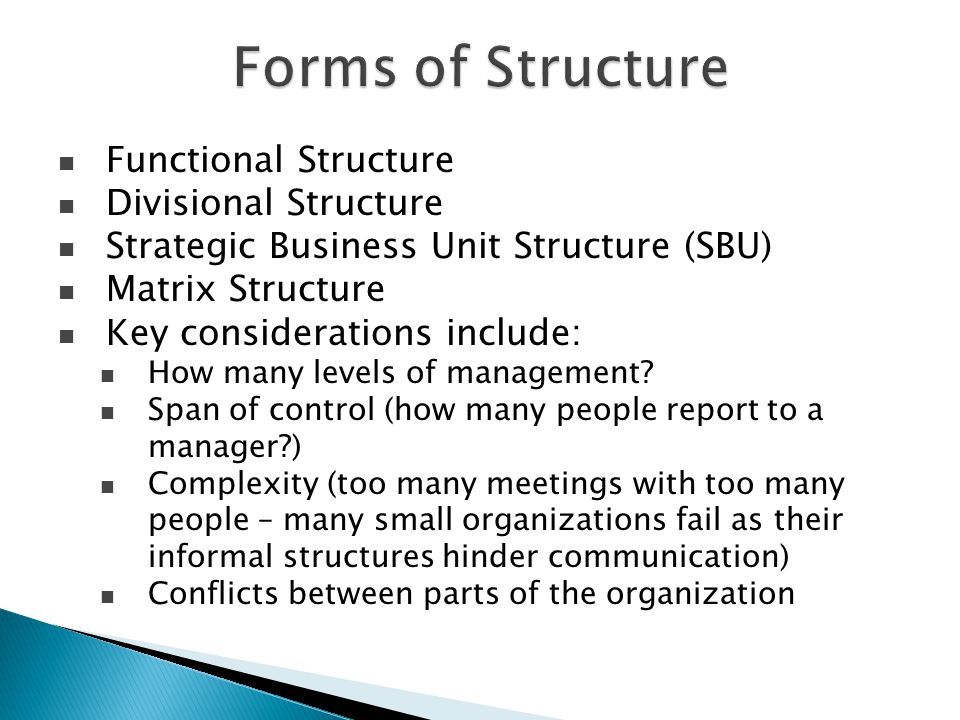 Forms of Structure Functional Structure Divisional Structure