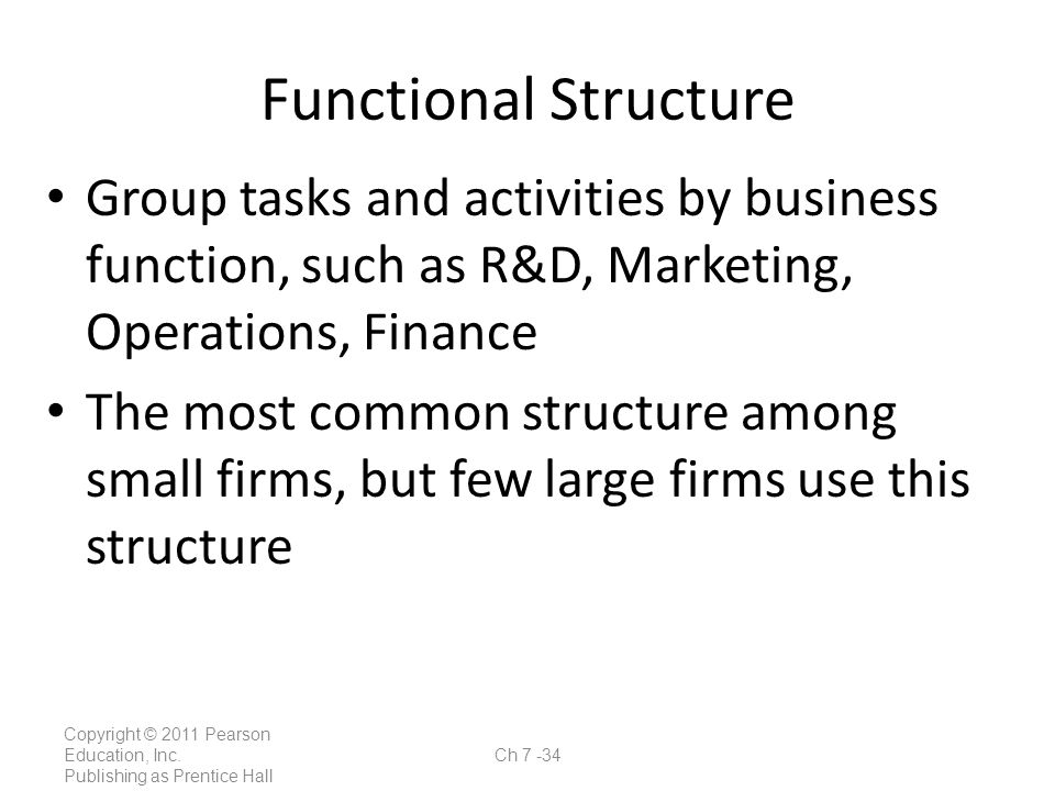 Functional Structure Group tasks and activities by business function, such as R&D, Marketing, Operations, Finance.